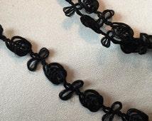 Black Rococo Trim, Garland Trim, Black Rosette Trim, 18th Century Trim, Black Roses
