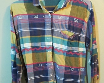 Angelique Plaid Button Down Shirt with Stitching