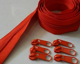 3 Yards  Zipper #5 with 6 Pulls, Red Zipper by the Yard, Zipper # 5, Zipper by the Yard.