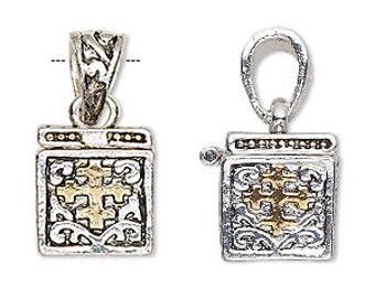 Prayer Box, Necklace Charm, Silver with Gold Cross, 16x13mm, 1 Each, D849