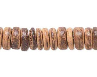 "Coconut Bead, brown coconut shell bead, rondelle, 10 mm, 15"" strand, D454"
