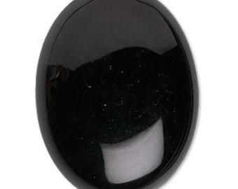 Black Cabochon, Black Onyx Gemstone, B-Grade, 40x30mm, 1 each, D508