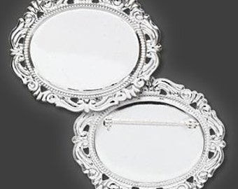 Pin Back Setting, Lightweight Cabochon Setting, silver-plated brass, 40x30mm, 1 each, D423