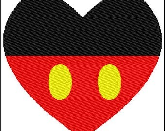 Mickey Mouse Heart Love Embroidery Design