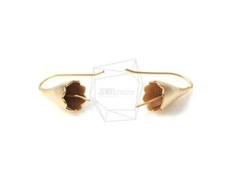 ERG-172-MG/2PCS/Matte Gold Bell Flower Earring Post/17mm x 24mm