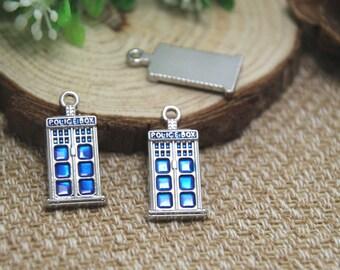 5pcs-- tardis Charms, Antique Tibetan Silver doctor who blue police box Charm pendants 12 x 27mm D1378