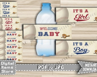 Baby Shower Water Bottle Labels Baseball - Baby Shower Printable Bottle Lables Baseball in vintage theme - Instant Download - bb2