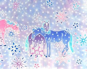 silk scarf, hand painted, square 90cm x 90cm, pink and purple horses, 100% silk (8mm Habotai silk), original art