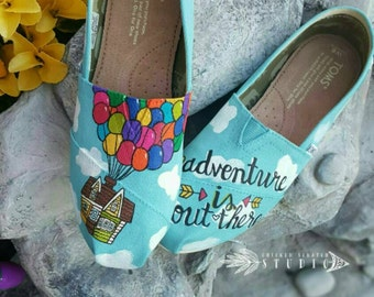 Disney Pixar UP Custom painted TOMS Canvas Shoes *Free shipping* Pixar toms | UP toms shoes | disney | carl ellie | adventure is out there