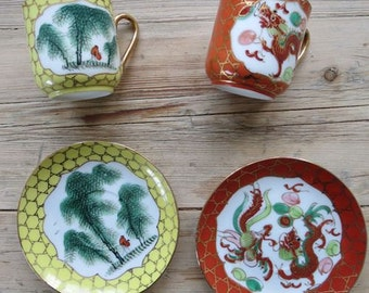 Chinese bamboo and dragon cups