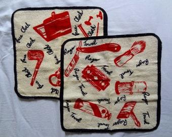 Vintage Retro Pair Osman Flannels Face Razor Cloths Terry Cloth Fun Images