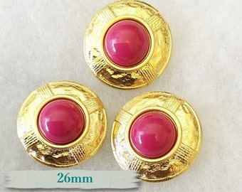 BM42, Buttons (3),  Fuschia, 26mm, FREE Shipping with another purchase.