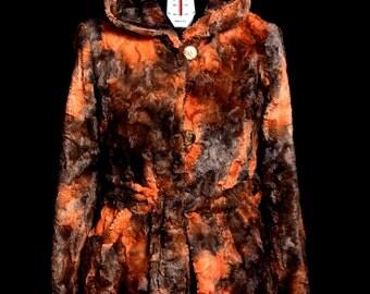 Women's jacket with faux fur hood, Orange, TG 46