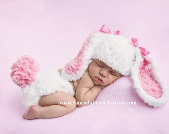 Baby girl Bunny Hat, Newborn Photo Prop Set, crochet baby Easter Rabbit Hat & Diaper Cover  -  crochet baby shower gift- Spring girl  outfit