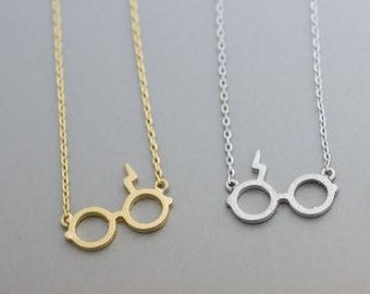 Potter Lightning Bolt Glasses Necklace Gold Plated Silver Plated
