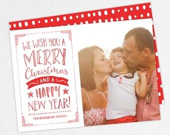 24 HOUR TURNAROUND, Holiday Card, Glitter Christmas Card, Glitter Holiday Card, DIY, Printable, Print Yourself Holiday Card, Photo Card
