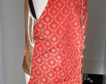 """Handmade Red And Gold Georgian Pirate Long Tie Back Waistcoat With Gold Metal Ship Steering Wheel Stamped Buttons Size Medium 38-40"""" Chest"""