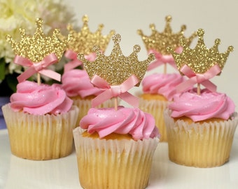 12 Crown Gold Glitter Cupcake toppers, birthday decorations, Princess cupcake toppers