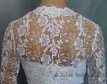 Bridal shrug bridal cover up wedding shrug lace bolero jacket bridal bolero white long sleeve bolero shrug for bride evening bolero shrug