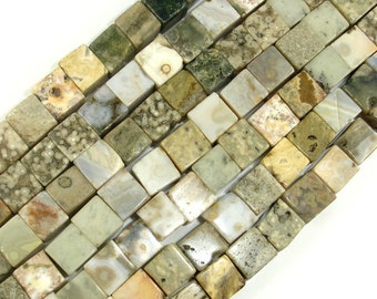 Ocean Jasper Beads, 8 x 8 mm Cube Beads, 16 Inch, Full strand, Approx 45 beads, Hole 1 mm (330009002)