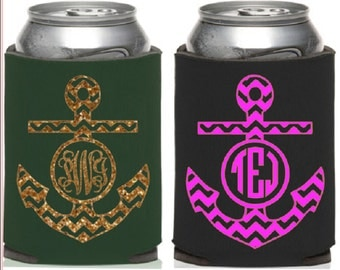 Chevron anchor monogram,Design Your Own KOOZIE® or Can Holder, Custom KOOZIE® , Personalized Can Holders