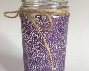 Hand Painted Small Jar/Vase (Pearlized Dk. Purple)