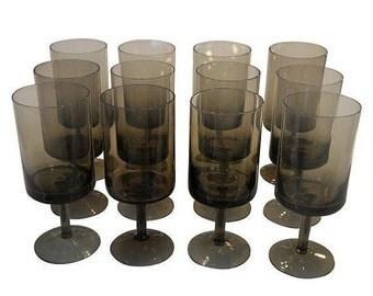 ON SALE Mid-Century Smoke Glass Wine Glasses - Set of 12