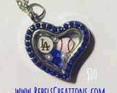 LA Dodgers Baseball Floating Charm Memory Locket