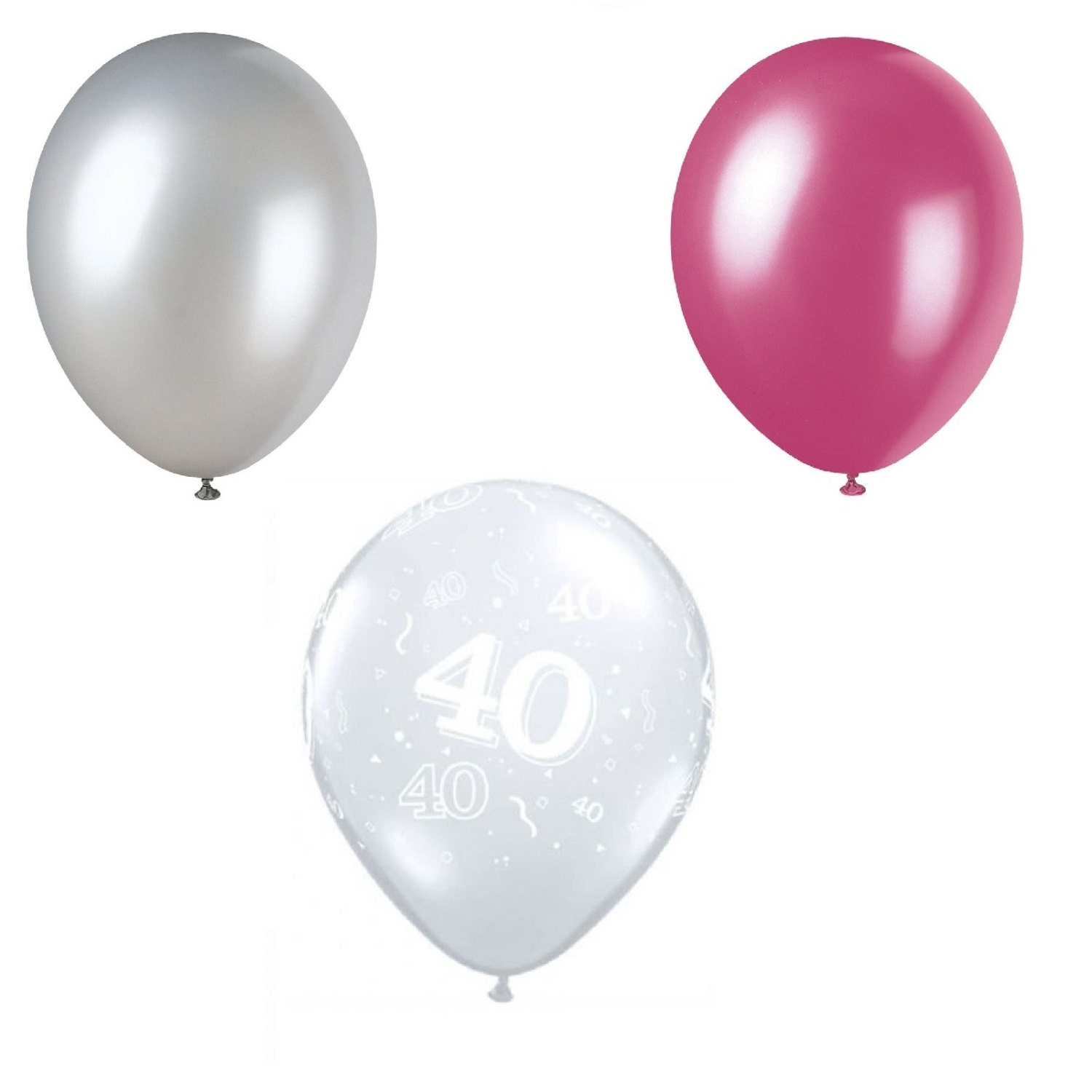 Happy 40th birthday party helium pearl balloon decoration for Balloon cluster decoration