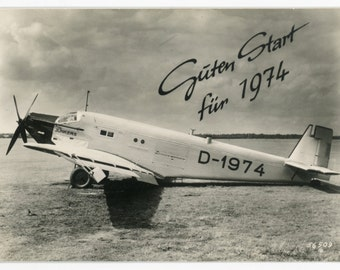 Junkers Ju52 prototype- vintage aviation photo- new years wishes for aviation fans- D-1974- 70s photo- aircraft picture