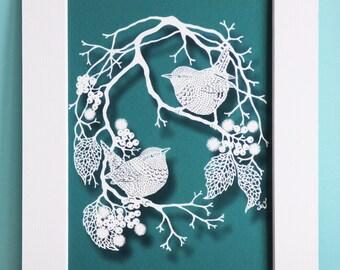 Wrens and Berries - Teal - Mounted Papercut Giclee Art Print