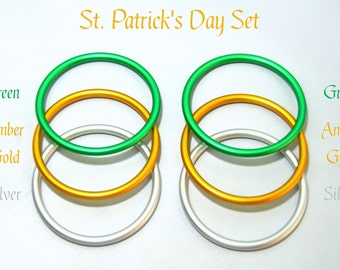"6 Pack 3"" Aluminum Rings for Baby Ring Sling Carrier Wrap, St Patrick's Pack 2 each of Green Gold Silver DYI Rings AL-Ring-Green-Gold-Silver"