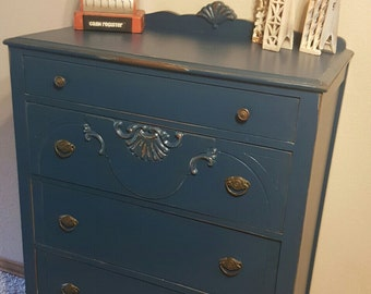 SOLD****************SOLD***********Distressed Chest of Drawers, Painted Chest, Vintage Furniture, Painted Dresser, Painted Furniture