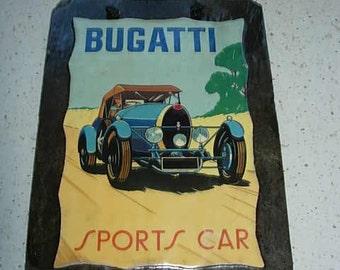 bugatti  decoupage slate picture