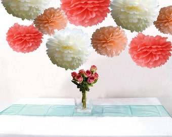 Bulk 18pcs Mixed Coral Peach Ivory DIY Tissue Paper Flower Ball Pom Poms Wedding Birthday Bridal Shower Hanging  Party Decoration Favor