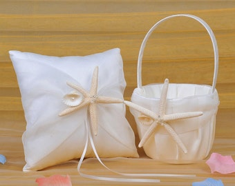 2-Piece Set Starfish Seashell Ring Pillow Bearer Flower Girl Baseket Beach Theme Ivory Wedding Engagement Party Decoration