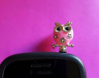 Very Cute Pink Owl Anti Dust Plug Phone Accessories Charm Headphone Jack Earphone Cap