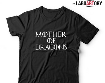 Mother of Dragons T-Shirt in Black, Grey and Red - Movie Shirts - Game of Thrones - Mother of Dragons Tee
