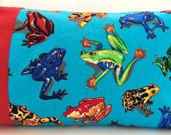 Frog Pillowcase, 14 X 20 Pillowcase, Amazon Tree Frog, Rainforest Frog, Boy Bedding, Boy Pillow Case, Children's Pillowcase, Boy Gift Idea