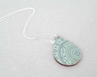 Turquoise necklace, aqua necklace, decoupage necklace, sterling silver necklace, statement necklace, wood necklace, decoupage jewellery
