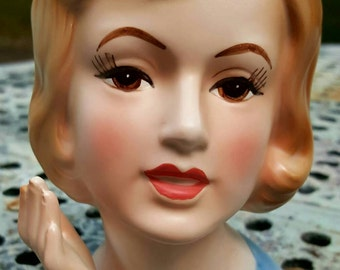 Vintage 1950s head vase of young woman with pillbox hat and  manicured hand