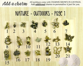 Nature, Outdoors, and Animal Charms You Can Add to Your Gutsy Goodness Pendant Necklace or Keychain, Antique Bronze