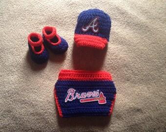 Crochet Atlanta Braves inspired outfit baseball