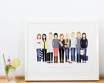 Custom / Bespoke Personalised Friend Portrait / Illustration
