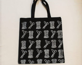 Hand Printed Crafters shopper canvas tote bag, cotton spool, scissors