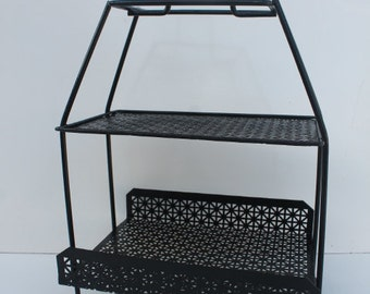 Tony Paul Black Perforated Metal Magazine Stand.