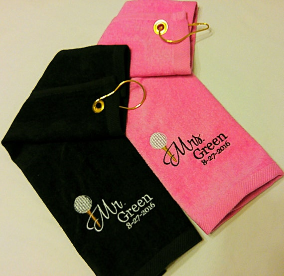 Wedding MR MRS Customized PERSONALIZED Velour Golf Towel