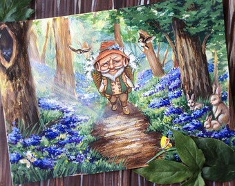 Original acrylic painting  - Forest gnome
