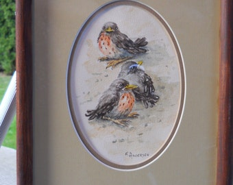 "Original Watercolor ""Three Fledglings""  Signed E. Andersen"