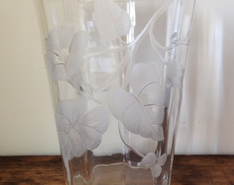 Art Glass Vase With Cut Morning Glory Decoration, c. 1920s